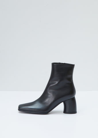 Round Heel Leather Ankle Boots