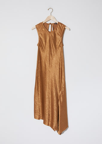 Lambeth Bias Asymmetrical Dress — Caramel