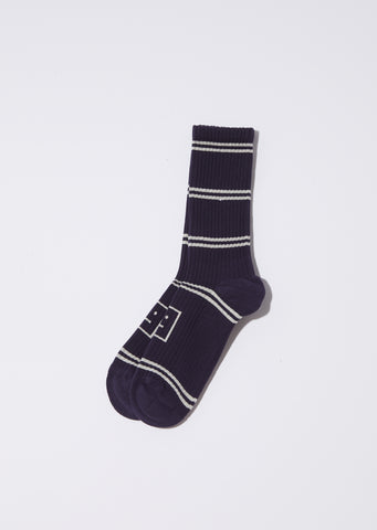 Unisex Rib Jacq Face Socks — Navy/Cream