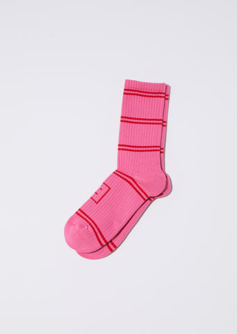 Unisex Rib Jacq Face Socks — Bubble Pink