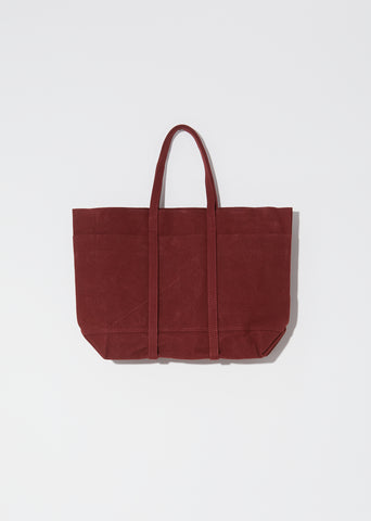 Washed Canvas 6-Pockets Tote, Medium — Burgandy
