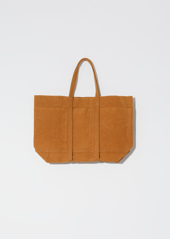 Washed Canvas 6 Pockets Tote, Medium — Mustard
