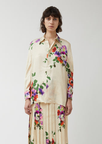 Silk Jacquard Flower Pattern Shirt