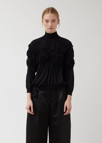 Ruched Flower Knitted Polo Neck