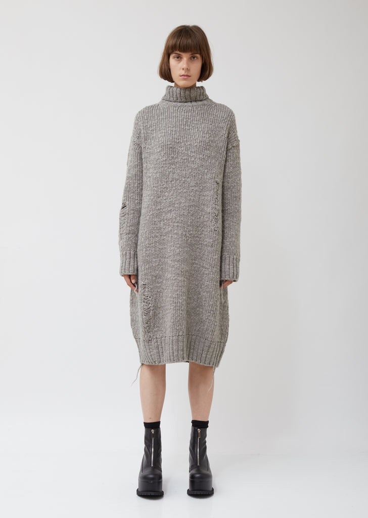 M-tuck Drop Op Wool Dress