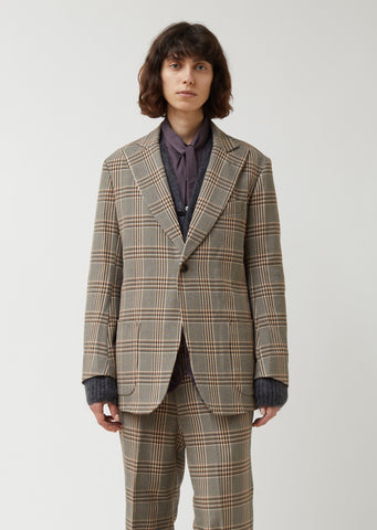 Graph Plaid Twill Peaked Lapel 1B Jacket