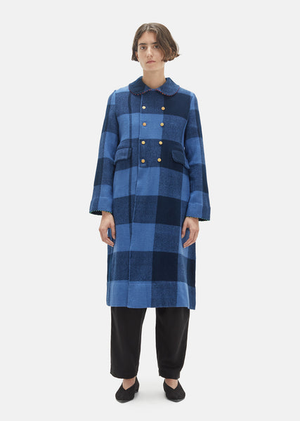 Handwoven Checkered Wool Coat