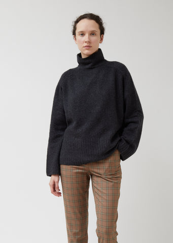 Cashmere Wool Wide Rib Turtleneck