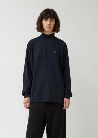 Synthetic Jersey Mock Neck Tee