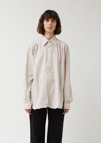 Tattersall Plaid Regular Collar EDW Gather Shirt