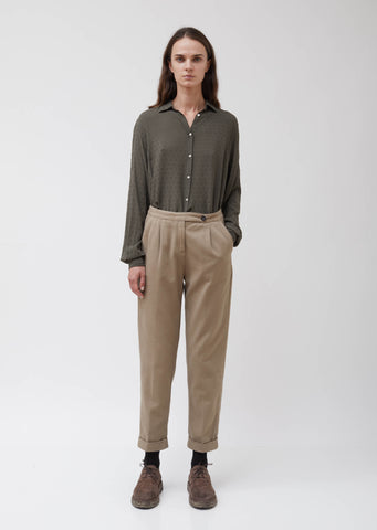 Khaki Cotton-Cashmere Twill Boga Pants