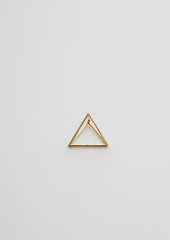 Medium 3D Triangle Earring with Diamonds