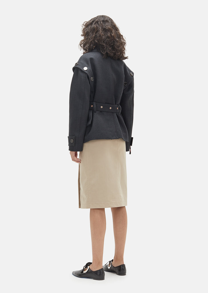 Asymmetric Twill Moto Jacket