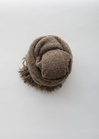 Handwoven Keyhole Scarf in Brown