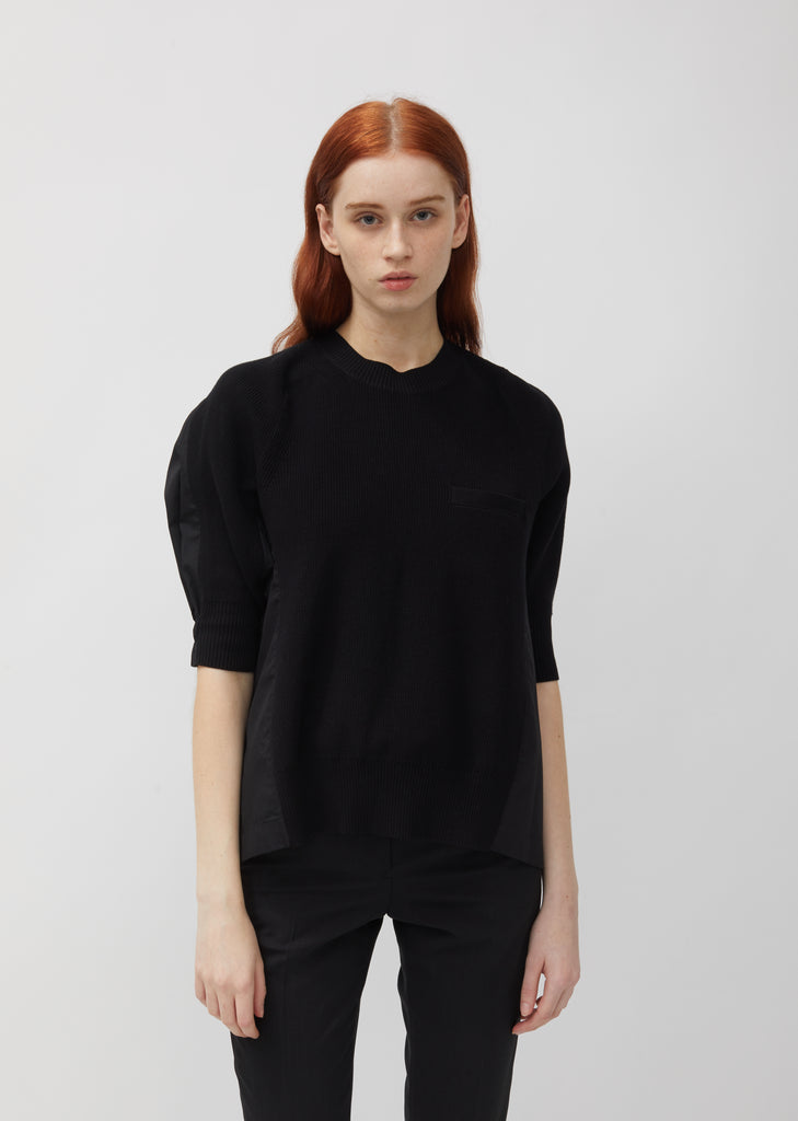 Cotton Rib Knit & Shirt Back Pullover