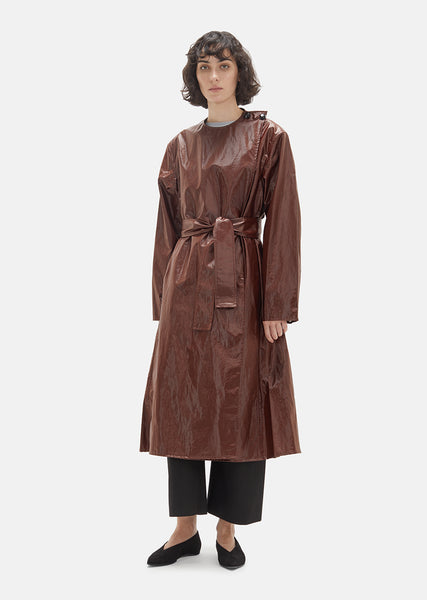 Coated Cotton Asymmetrical Overcoat