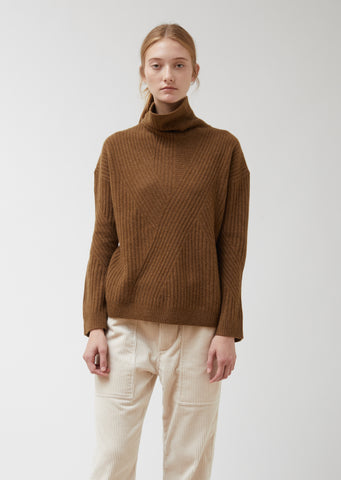 High Neck Travelling Rib Sweater
