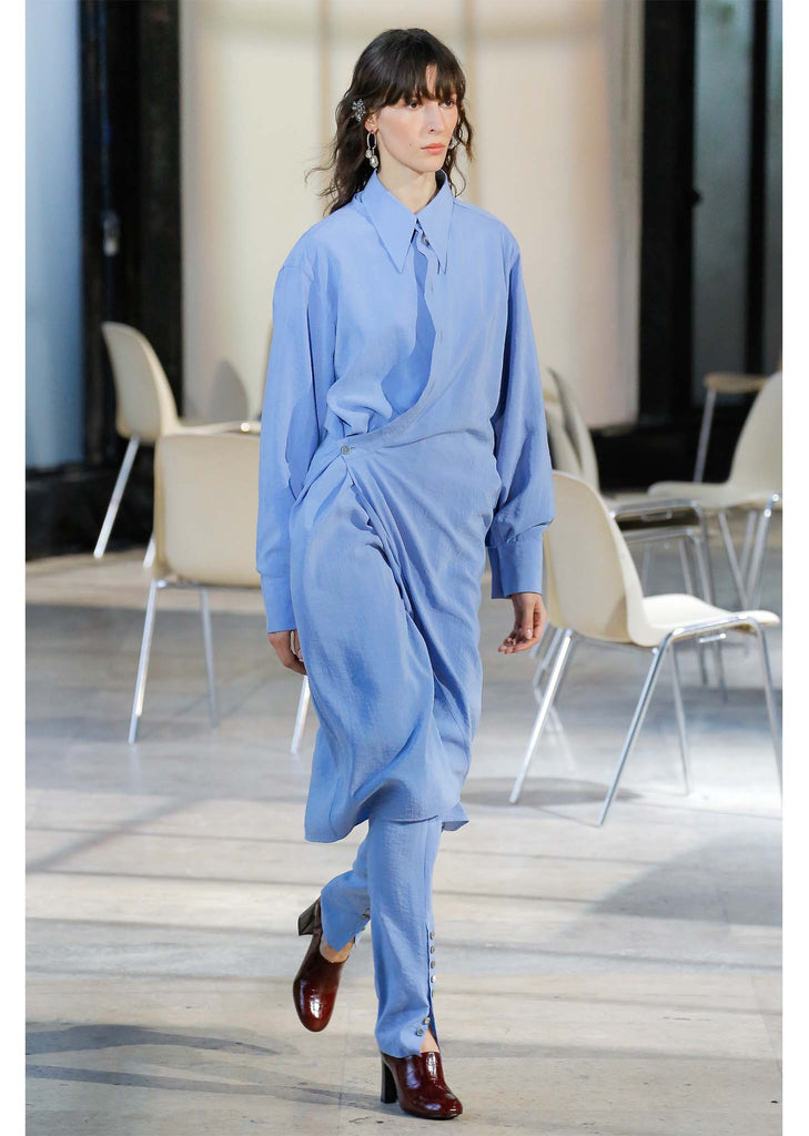 Asymmetric Silk Shirtdress