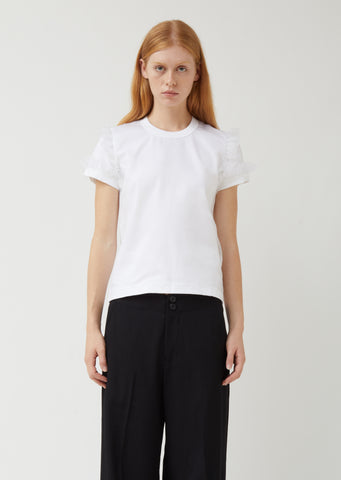Cotton Ponte x Polyester Organdy Top