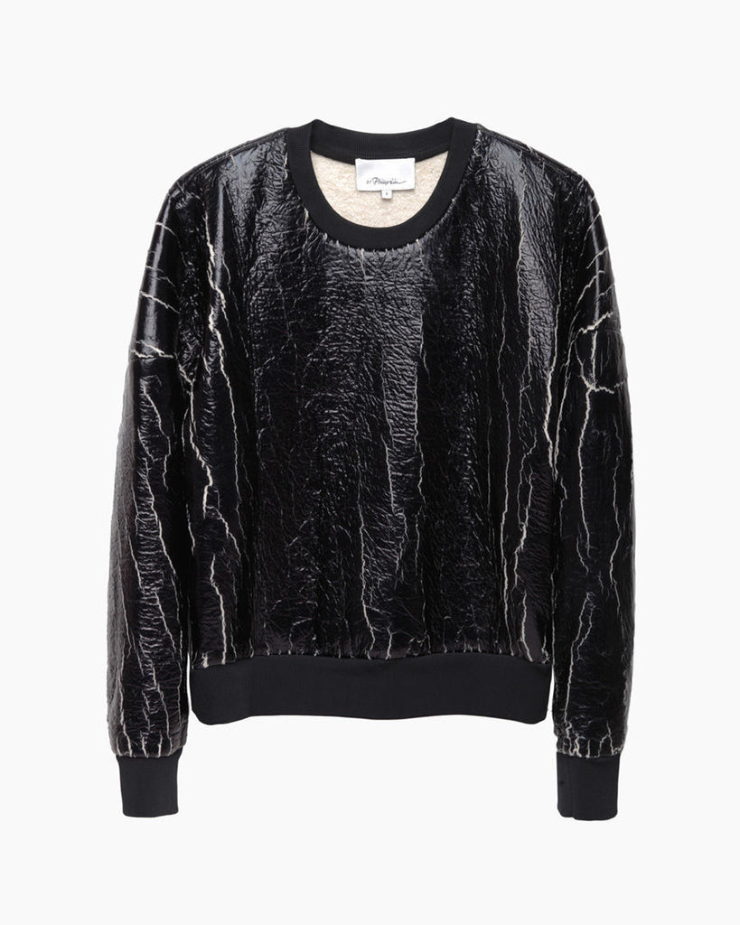 Coated Crackle Sweatshirt