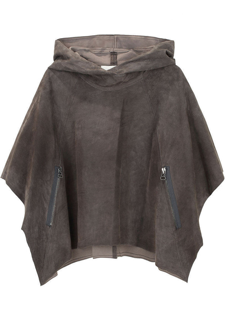 Cropped Suede Poncho