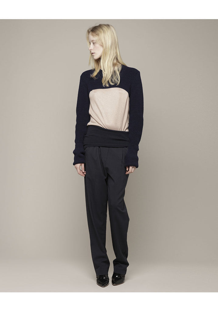 Cropped Turn-Back Sleeve Pullover