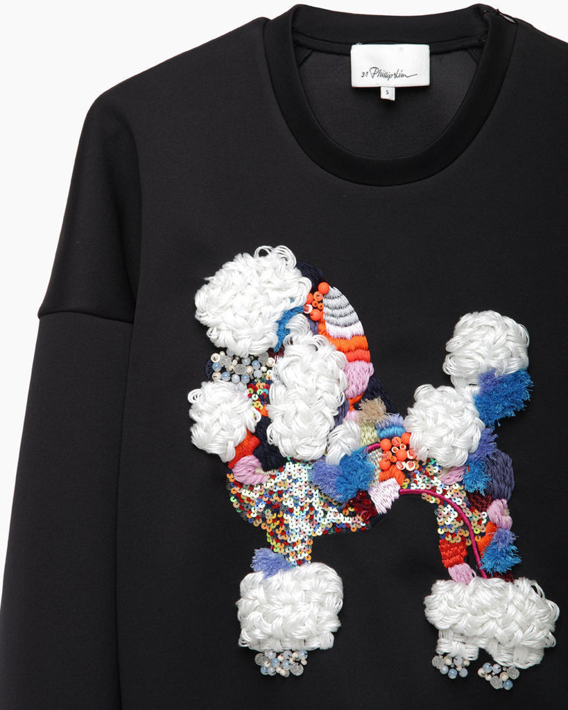 Dropped Shoulder Cropped Poodle Sweatshirt