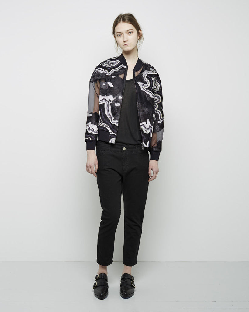 Embroidered Organza Bomber