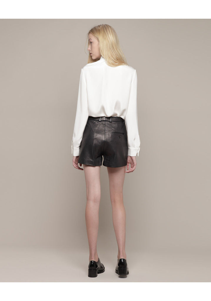 Flat Front Leather Shorts
