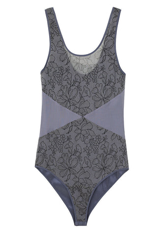 Printed Lace Silk Bodysuit