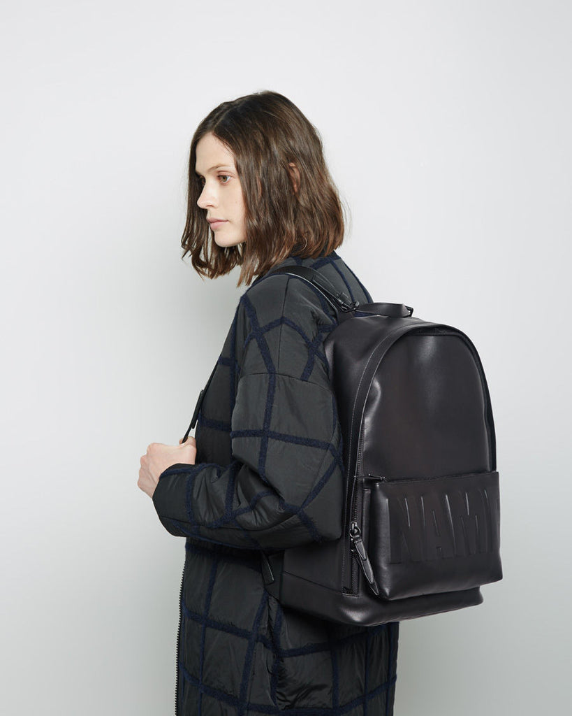 Leather Name Drop Backpack