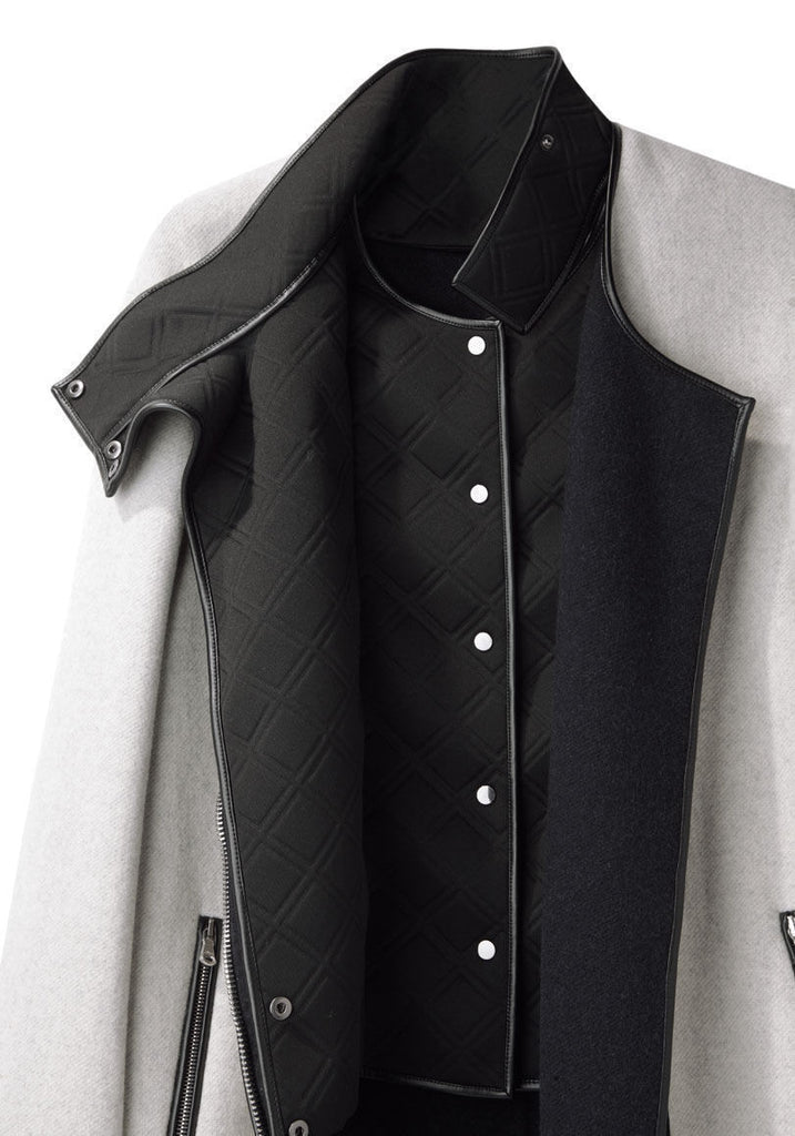 Leather Trim Coat