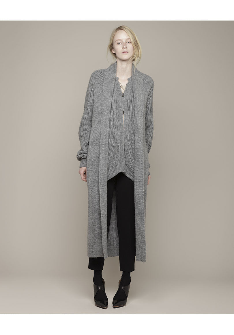 Long Coat Cardigan w/ Attached Scarf