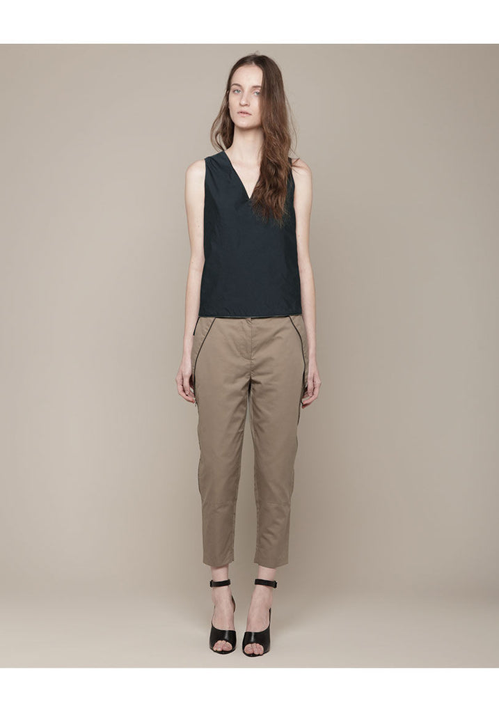 Side Zipper Cropped Trousers