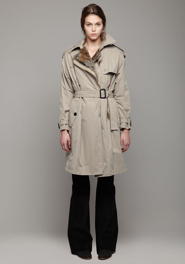 Trench w/ Rabbit Fur Lining
