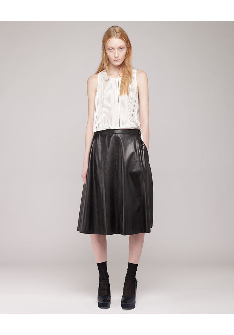 Umbrella Box-Pleat Skirt