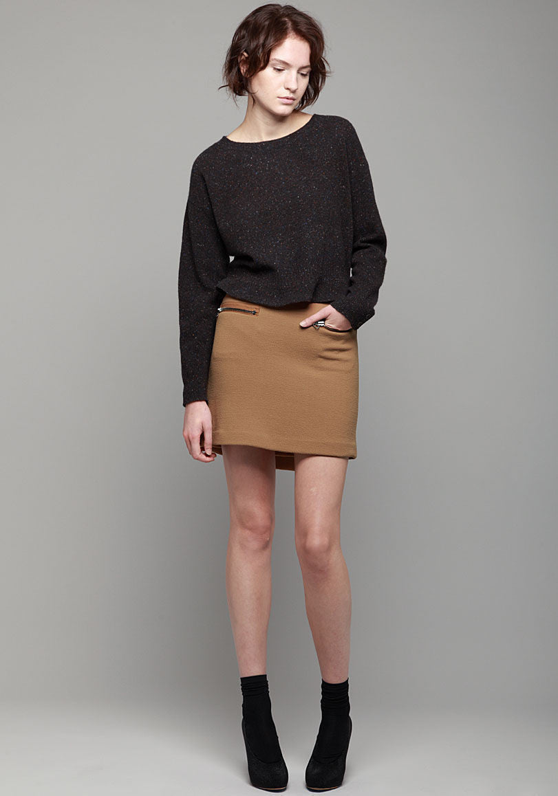 Wool Crepe Faux Wrap Skirt