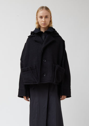 W Knit-nylon Hooded Jacket