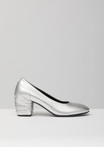 Silver Leather Heel