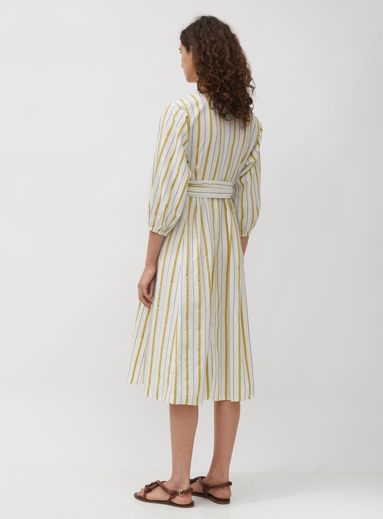 Striped Cotton & Linen Voile Dress