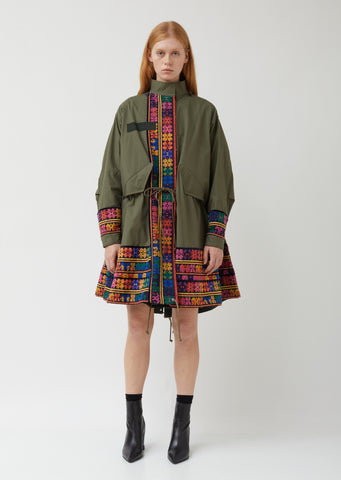 Oxford x Floral Stripe Embroidery Coat