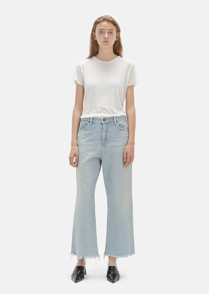 Cropped Loose Kick Bleach Jeans