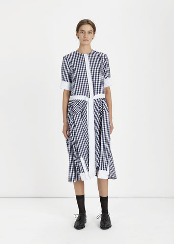 Collarless Gingham Shirtdress