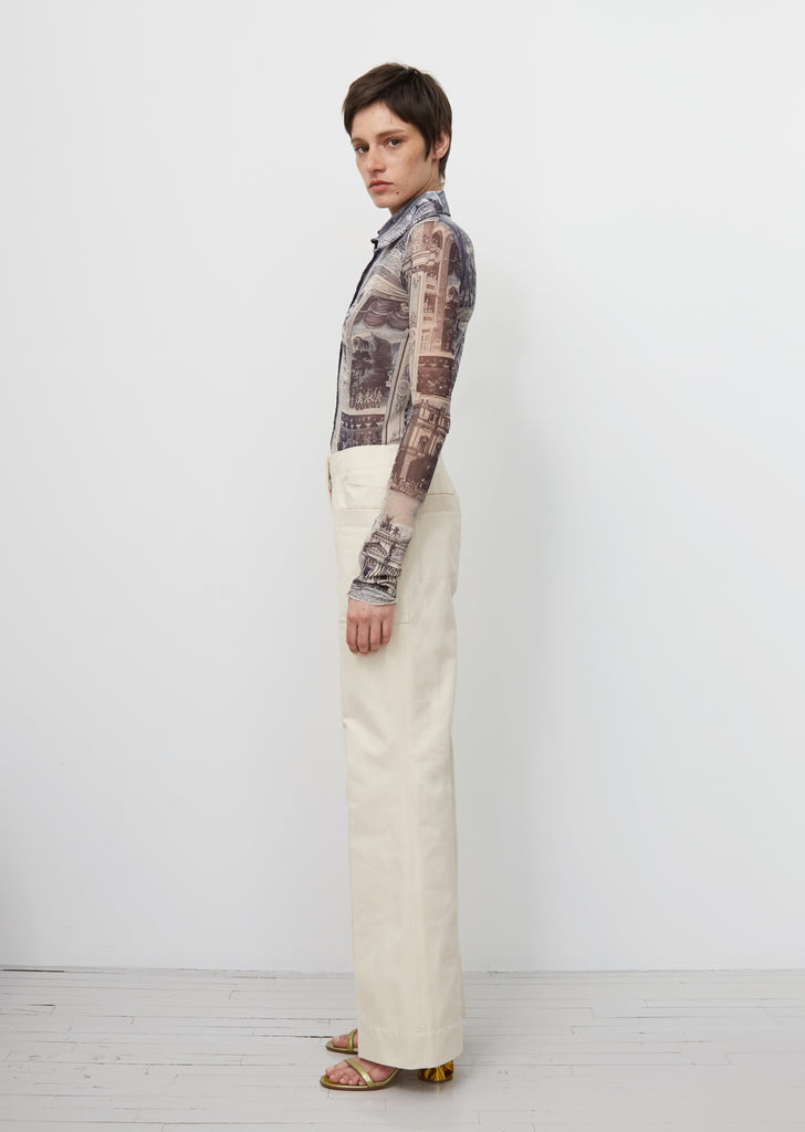 Portia Cotton Drill Flared Trousers