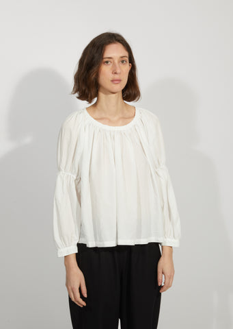 Garment Treated Cinched Loose Blouse