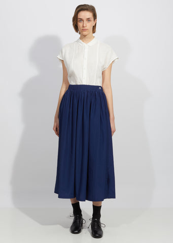 Wavy Rayon Side Slit Gathered Skirt