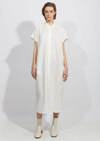 Linen Tuck Shirt Dress
