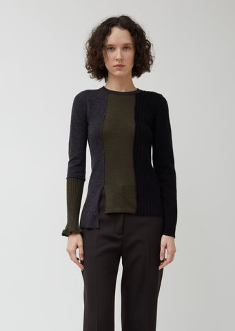 Wool Cashmere Blend Patchwork Sweater