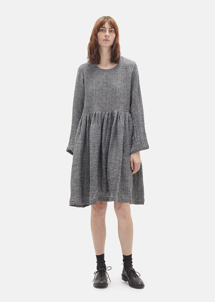 Grey Linen Pleated Dress