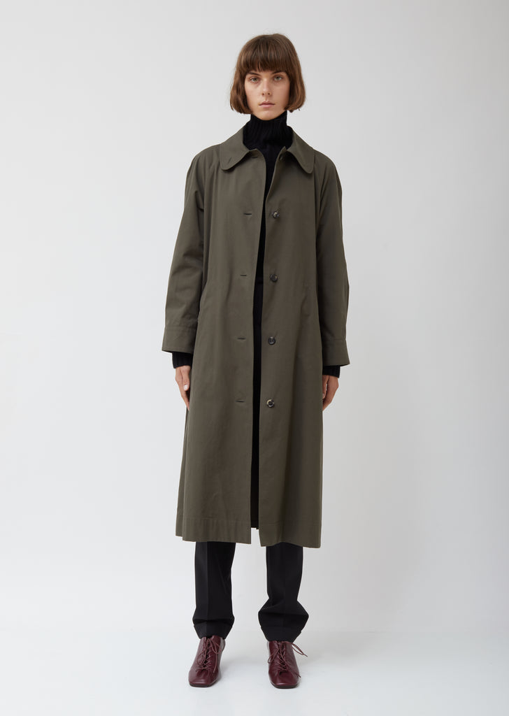 Cotton Twill Trench Coat Dress